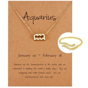 *11 OPTS* 2PC ZODIAC NECKLACE/ADJUSTABLE RING SET